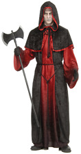 Mens Black Hooded Red Demon Ghost Robe Halloween Fancy Dress Costume Outfit