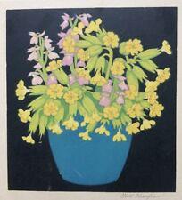John Hall Thorpe Woodcut Crocuses & Cowslips 1922 signed floral, flowers