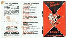 BALTIMORE ORIOLES ~ 1962 Pocket Schedule ~ FREE SHIPPING