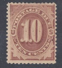 US Stamps Sc J19 10¢ Red Brown Postage Due 1884 Mint OG Hinged  w/ thin  CV $550