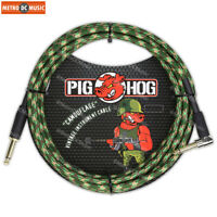 """Pig Hog 1/4"""" Camouflage Tweed Guitar Instrument Cable Cord 10ft Right-Angle"""