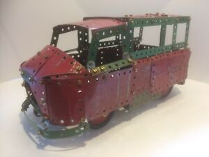 Vintage Meccano bus in red and green 1950's/60's