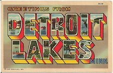 Greetings From Detroit Lakes MN Large Letter Linen Postcard 1959