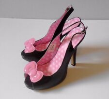 Sanrio Hello Kitty Women's 9M Sling Back High Heels Black Peep Toe Bow 2011