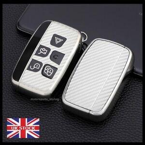 Silver Carbon Fiber Key Fob Cover Case For Land Rover Range Rover Jaguar t45cf*