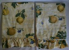 Waverly La Frutta Ruffled Tiers Curtains Yellow Blue Fruit Script Writing