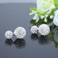 Crystal Ear Stud Jewelry Silver Plated Double Sided Balls Bead Earrings fj
