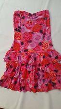 BILLABONG PINK FLORAL STRAPLESS SUMMER DRESS SIZE 8