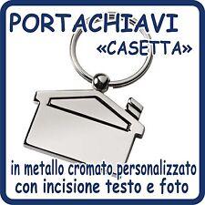 Portachiavi CASETTA in acciaio Cromato PERSONALIZZATO con Foto e Testo!!!