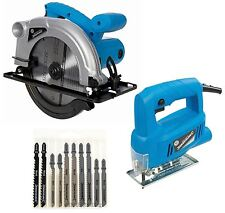 1200W Circular Saw 185mm Skill Saw + 350W Jigsaw 230v + 10pc Wood / Metal Blade