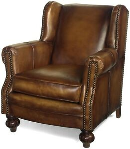 ACCENT LIBRARY CHAIR TRADITIONAL BROWN LEATHER HAND MADE IN USA  NAILHE