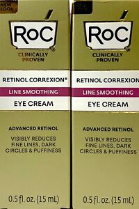 2 RoC RETINOL CORREXION Line Smoothing Eye Creams 0.5 oz each  Brand New Sealed
