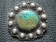 NATIVE HIPPIE BOHO STERLING SILVER TURQUOISE BELT BUCKLE! VINTAGE! RARE! 81g!