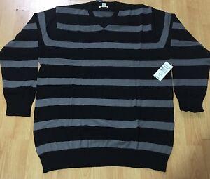 New Jordan Craig Men's Black/Grey Striped Long Sleeves V-Neck 100%Cotton Sweater