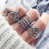10PCS Retro Arrow Moon Midi Finger Knuckle Silver Rings Boho Fashion Jewelry
