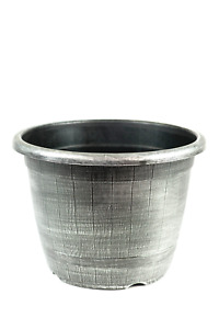 2 XL Silver  Wooden Barrel Plant Pot Outdoor Garden Flower Round Plastic Planter