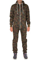 Boys Girls Kids Army Camo Camouflage Print Hooded Jumpsuit All In One Pyjamas