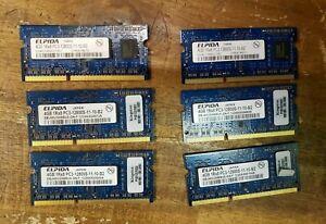 Lot of 6 Elpida 4GB SO-DIMM 1600 MHz PC3-12800 DDR3 Memory (EBJ40UG8EFU0-GN-F)