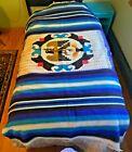 """Vintage Antique Wool Rug Blanket Flat Weave Eagle Snake 50"""" x 86"""""""