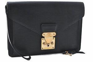 Authentic Louis Vuitton Epi Sellier Dragonne Clutch Bag Black M52612 LV C2294