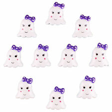 Bulk 10pcs Halloween Cute Ghost w/ Purple Bow Resin Flatback Hair Bow Crafts