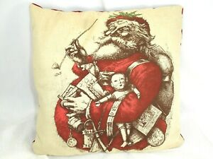 Handcrafted Holiday Pillow, Screen Printed Santa with Velvet Back.  11 X 11 in.