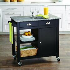 Portable Kitchen Cart Black/Granite Top 2 Open Shelves Wood Composite Black