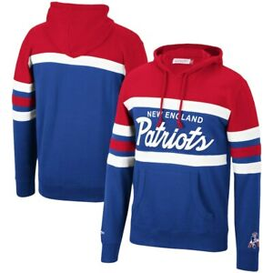 New England Patriots Mitchell & Ness COACHES THROWBACK Pullover Hoodie- Red