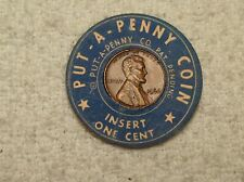 Cardboard Encased 1966 Lincoln Cent-Put-A-Penny Coin-Insert One Cent