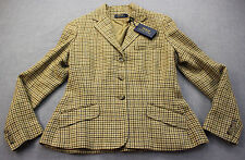 RALPH LAUREN Made in Italy Womens houndstooth Beige SILK LINEN Blazer Sz 12 $598