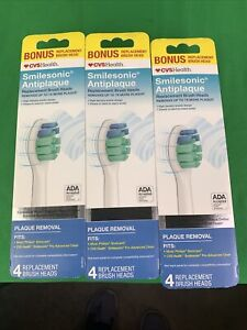 3PK Smilesonic Antiplaque Replacement Brush Heads Removes Up To 7XMore Plaque4Ct