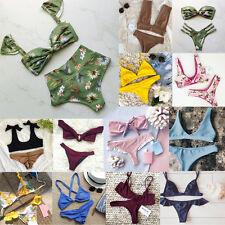 NUOVO Donna Bikini Costumi da bagno Costume da bagno triangolo costume da bagno imbottito beachwear Floreale