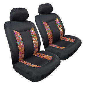 Bronzing Feather 2pcs Universal Size Car Seat Covers For Holden Subaru Mazda