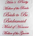 HENS NIGHT BRIDAL SASH SASHES BRIDE BRIDESMAID MAID OF HONOUR - WHITE + HOT PINK