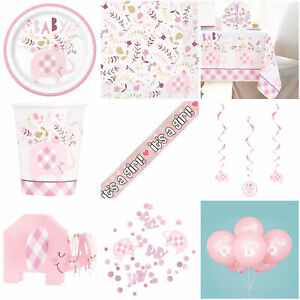 Baby Shower Girl Pink Party Decorations Tableware Plates Banner Bunting Balloons