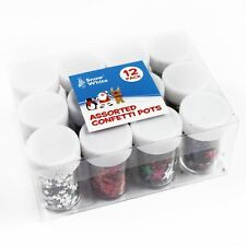 Assorted Colours Star Confetti Pots 12 Pack Red Silver Gold Multi Coloured