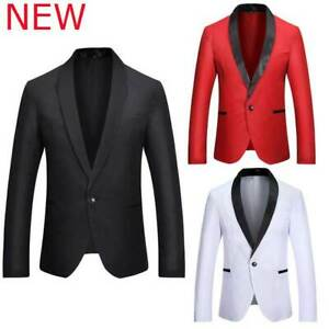Mens Business Jacket Tops Host Suit Blazer Solid Formal Club Wear Coat Party