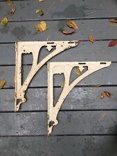 Pair Antique Vintage Cast Iron White Sink Brackets Supports