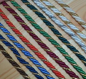 Decorative twisted cord braid 7mm with gold / silver strand jewellery soutache
