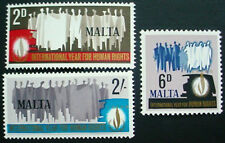1968 MALTA: QE II: INTERNATIONAL HUMAN RIGHTS YEAR:  SET OF 3 MNH STAMPS