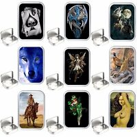 Various Designs Silver Hinged Tobacco Tins, 50 ml -1oz. storage Box, Craft Tin