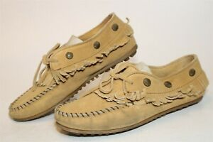 Minnetonka Womens Size 9 Suede Ankle Tie Rondels Fringed Flat Moccasin Shoes 537