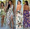 Women Summer Floral Halter Dress Beach Boho Party Evening Maxi Long Sundress CA