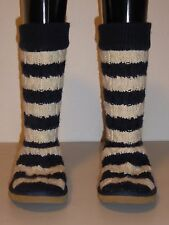UGG AUSTRALIA WOMEN'S CLASSIC TALL STRIPE CABLE KNIT DARK BLUE WHITE BOOT SIZE 6