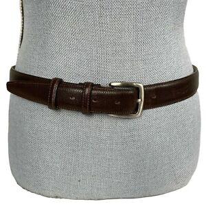 LONGCHAMP Sz 38 Unisex Fine Pebbled Leather Horse Themed Brown Belt Free Size ML