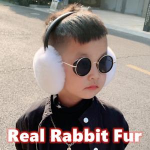 Kids Real Rabbit Fur Earmuffs Winter Warm Soft Earlap Ear Muff Leather Bracket