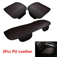 3Pcs Car Seat Cover Front+Rear PU Leather Set Cushion For Interior Accessories