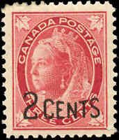 Canada Mint F-VF Scott #87 1899 2c-on-3c Provisional Stamp Never Hinged
