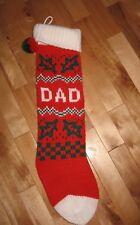"""EUC DAD personalized knit Christmas stocking acrylic with pom pom cuff top 25"""""""