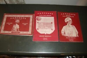 LOT OF 3 J & P COATS BOOKS 1916 1920 1921